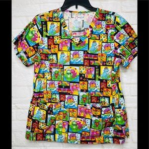 Peaches Frogs Scrub Top Lg Short Sleeve Fitted